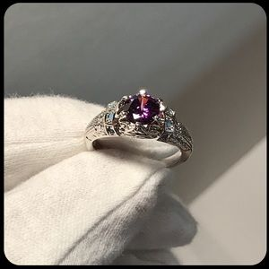 Amethyst multicolored Silver Plated Ring